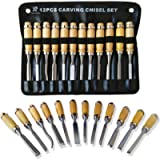 Professional Wood Carving Chisel Set - 12 Piece Sharp Woodworking Tools w/ Carrying Case - Great for Beginners by Tuma…