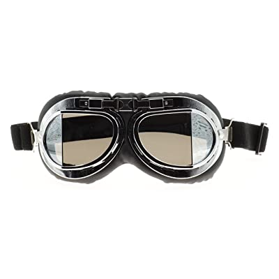 Hot Rides Classic Vintage Aviator Pilot Motorcycle Goggles Protective Glasses (Silver Frame/Plating Lens): Automotive