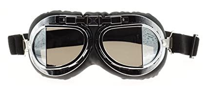 8433ea824be7 Hot Rides Classic Vintage Aviator Pilot Motorcycle Goggles Protective  Glasses (Silver Frame/Plating Lens