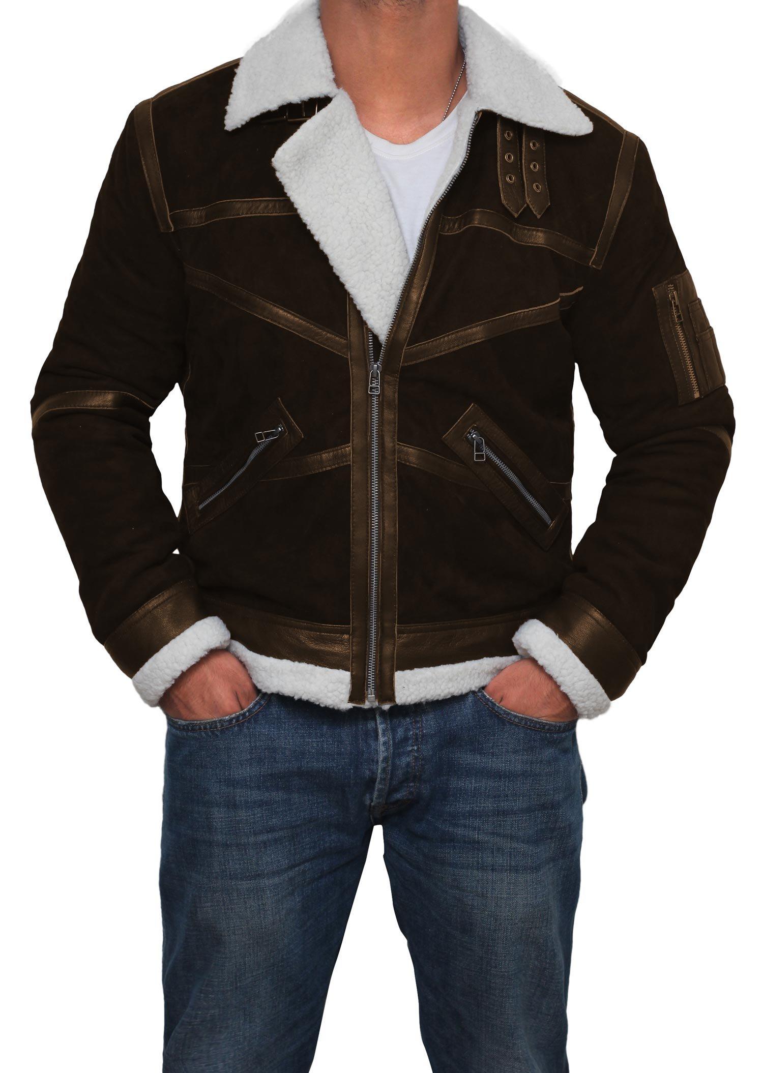 Mens Tom Cruise Jack Reacher Jacket - Leather Motorcycle Jacket (Brown - Power 50 Cent Jacket, XL)