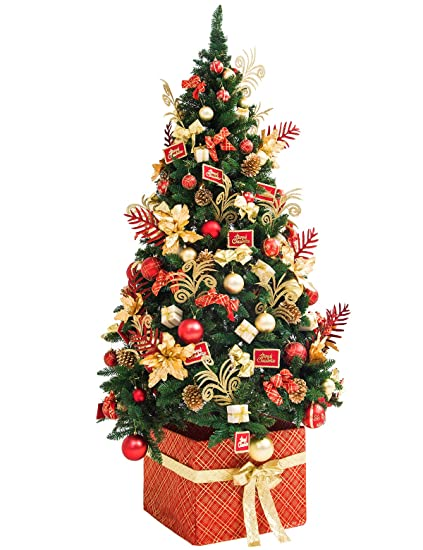 adomi 7 foot deluxe fully decorated artificial christmas tree 10 kinds redgold shatterproof christmas - Fully Decorated Christmas Tree