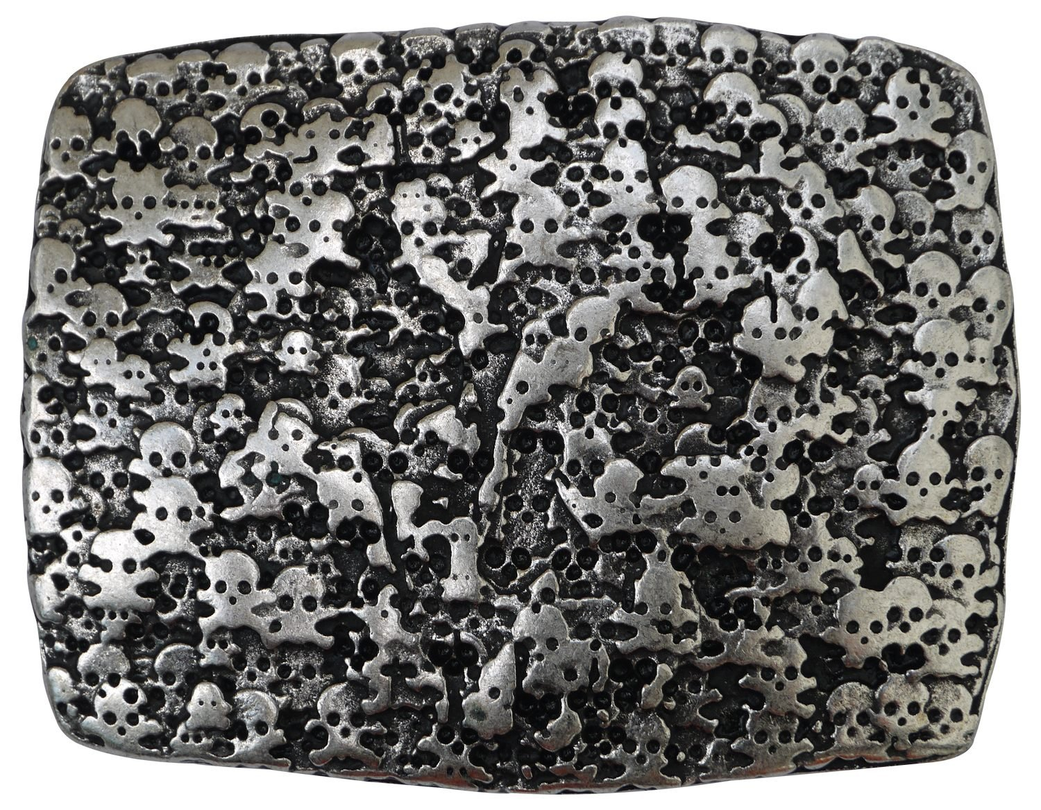 FRONHOFER Large antique silver belt buckle with little skulls, unisex 1.5'/4cm, Color:Silver color, Size:One Size unisex 1.5'/4cm