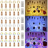 MUMUXI 30 Pack 20 LED Wine Bottle Lights with Cork, 3.3ft Silver Wire Cork Lights Battery Operated Fairy Mini String…