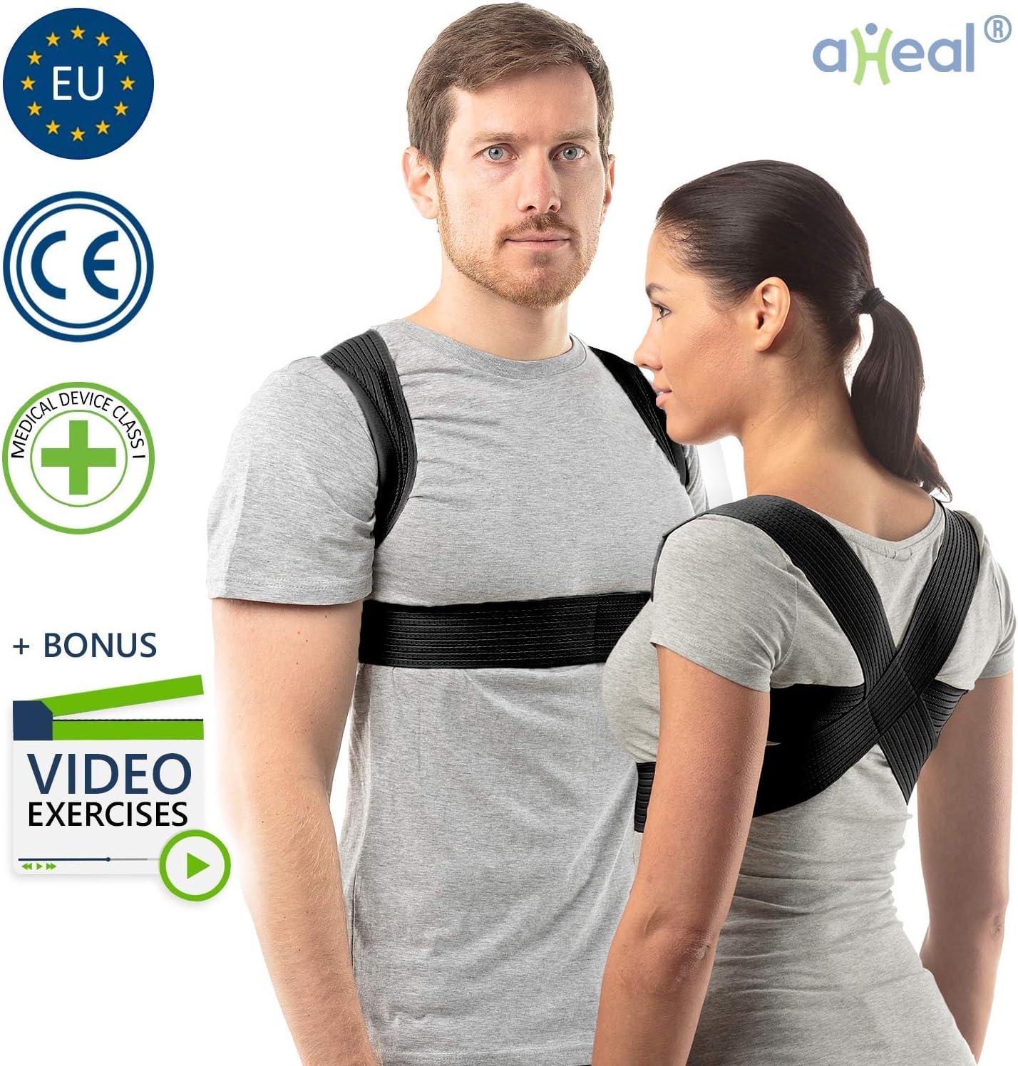 aHeal Corrector de Postura para Hombre y Mujer | Soporte para Corregir la Postura | Corsé Ortopédico para Escoliosis Cifosis | Alivio del Dolor de Espalda y Corrector de Mala Postura | Talla 3 Negro