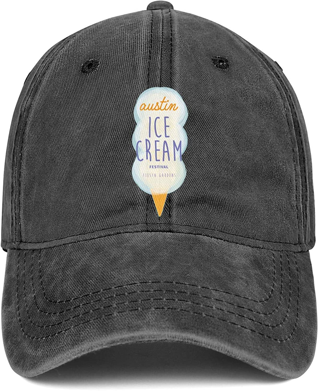 Logo Retro Mens Jean Baseball Caps Austin Ice Cream Festival Fiesta Fardens Flat Hat for Men Curved Jeans Denim Dad Hat for Women