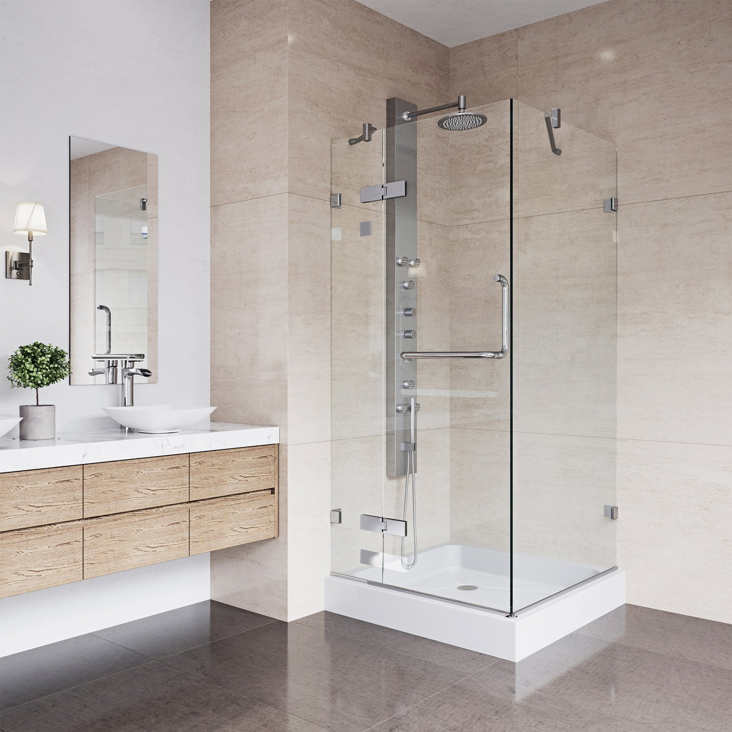 VIGO Monteray 36 x 36-in. Frameless Shower Enclosure with .375-in ...