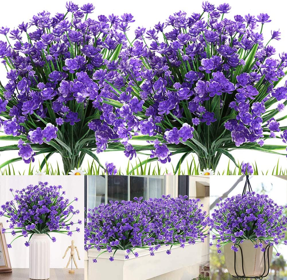 KLEMOO Artificial Flowers, 8 Bundles Fake Outdoor UV Resistant Greenery Faux Plants Shrubs for Indoor Outside Hanging Planter Home Office Wedding Farmhouse Decor (Purple)