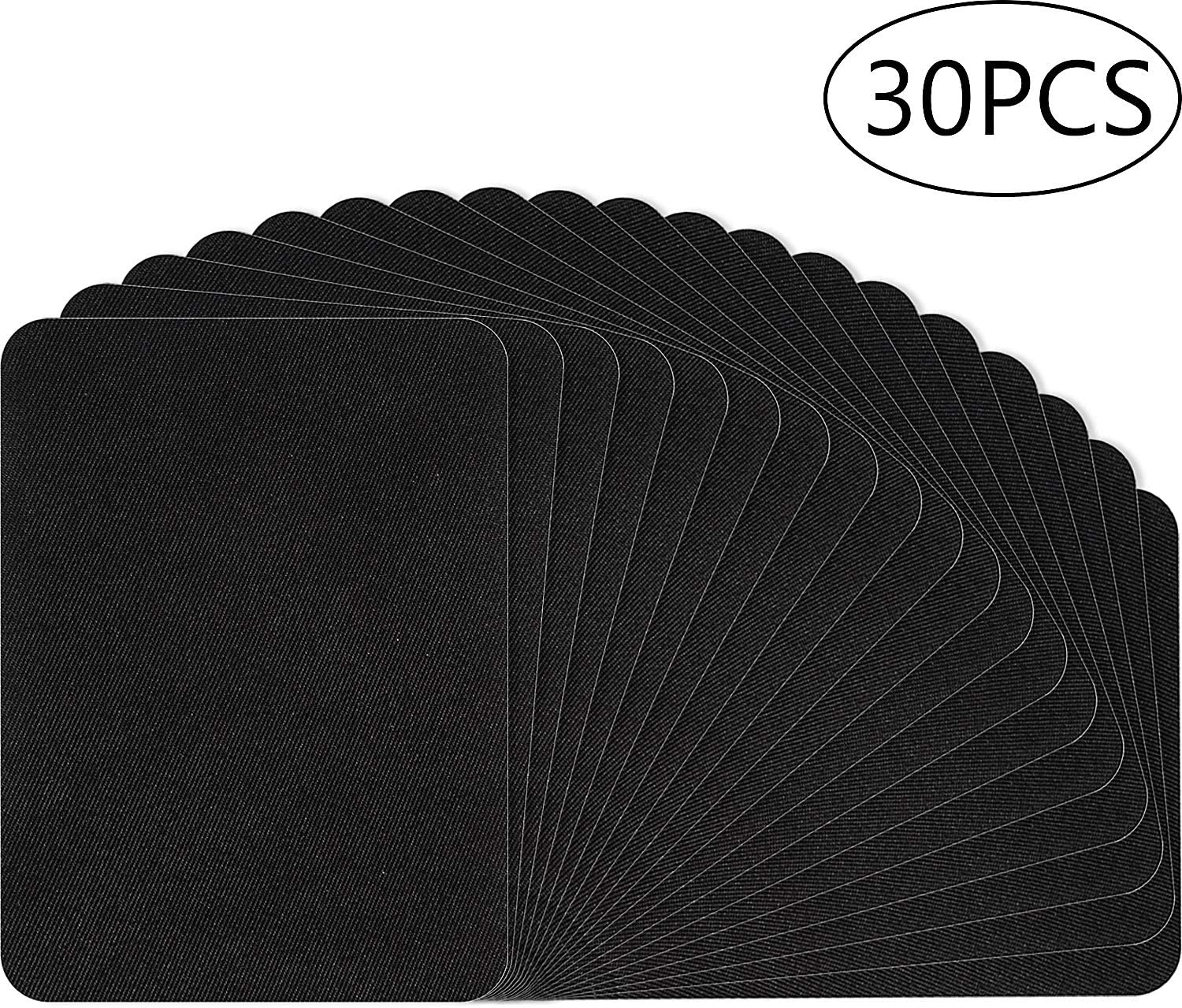 30 Pieces Iron on Patches Black Fabric Iron on Patches Repair kit Large Size for Clothes, Pants, Jeans, Jackets (Black)