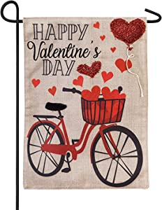 Valentine's Day Bicycle Garden Burlap Flag - 13 x 1 x 18 Inches