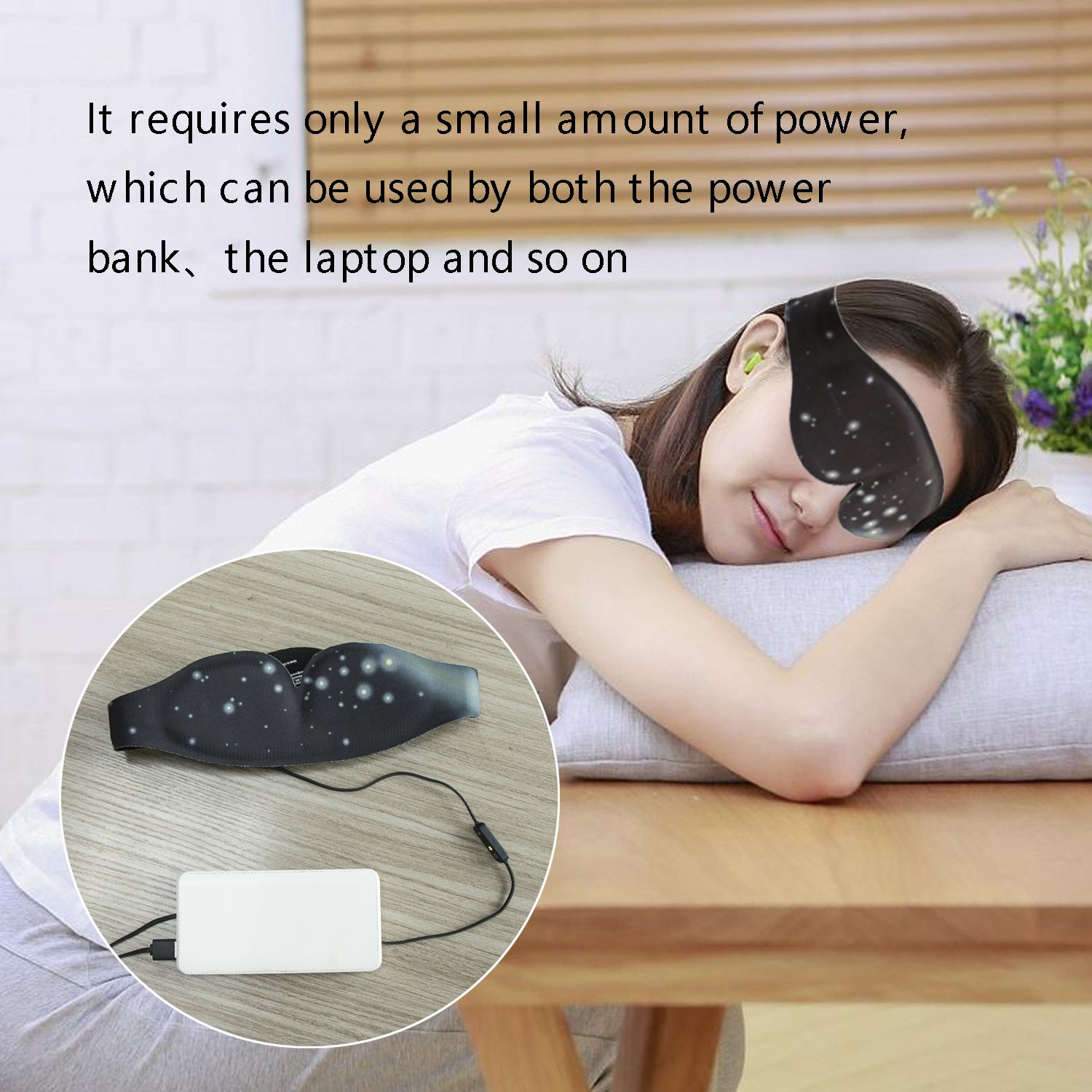DTNO.I Graphene Eyes Mask Far-infrared Therapy Adjustable Temperature Sleeping USB Heated Eye Massage Mask by DTNO.I (Image #5)