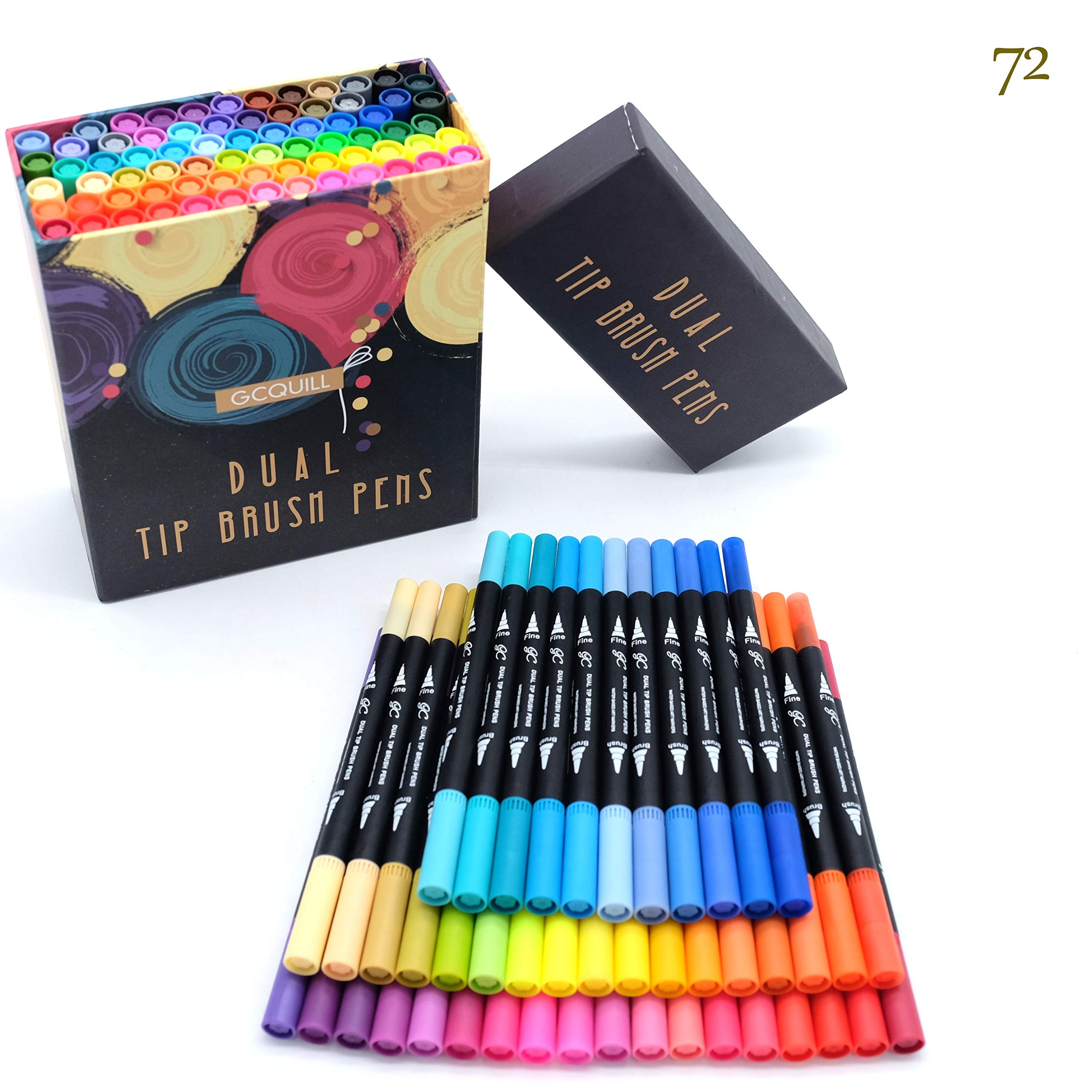 GC 72 Colors Dual Tip Brush Pens Highlighter 72 Art Markers 0.4mm Fine liners & Brush Tip Watercolor Pen Set for Adult and kids Coloring Books Bullet Journal, Calligraphy, Hand Lettering, Note Taking by GC WRITING QUILL (Image #9)