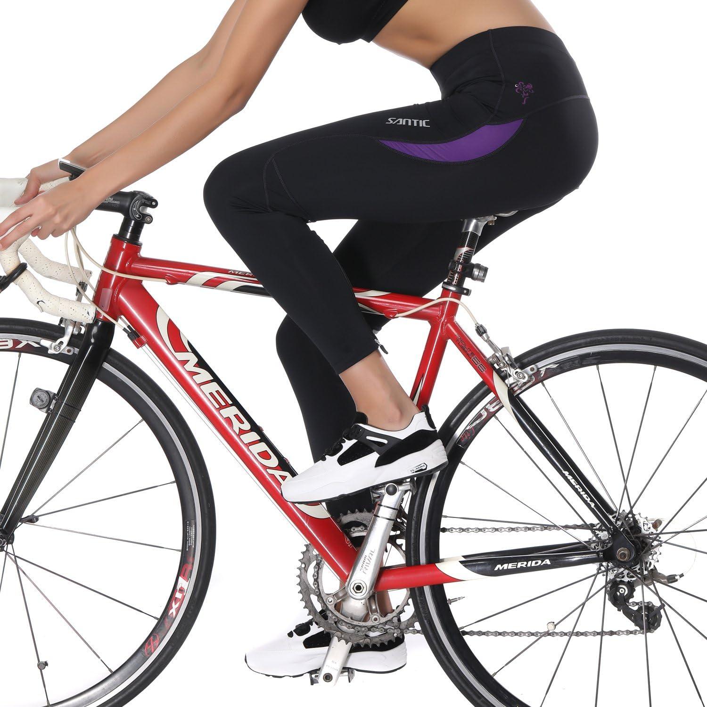 Santic Bike Pants Womens 4D Padded Bike Cycling Tights Biking Capris for Women Long Road Trousers Quick Dry Parni