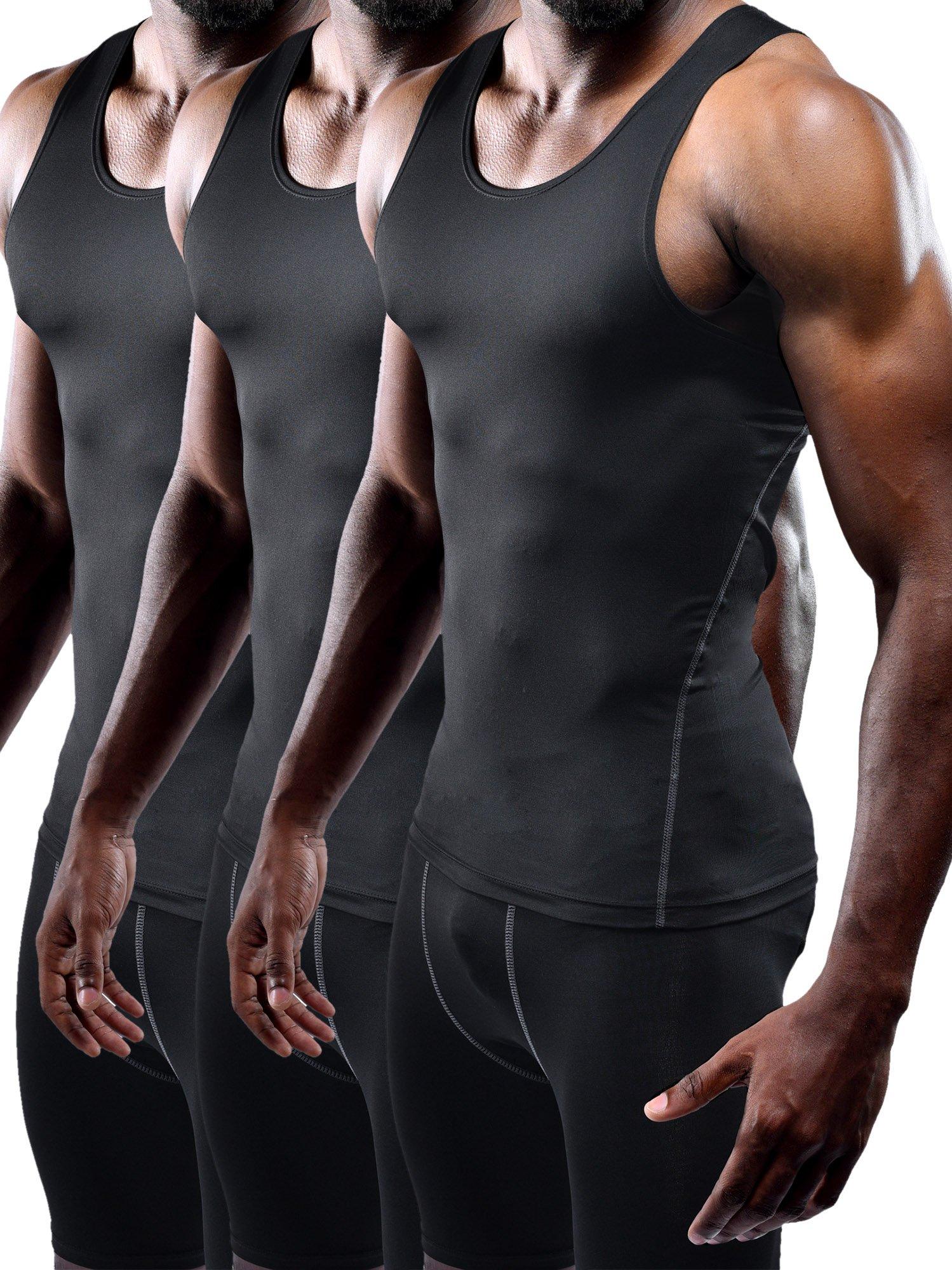 Neleus Men's Athletic 3 Pack Compression Under Base Layer Sport Tank Top,Black,XS,EUR S by Neleus (Image #1)