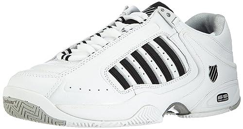 DEFIER RS~WHITE/BLACK~M 01033-103-M - Zapatillas de tenis de cuero para hombre, color blanco, talla 43 K-Swiss