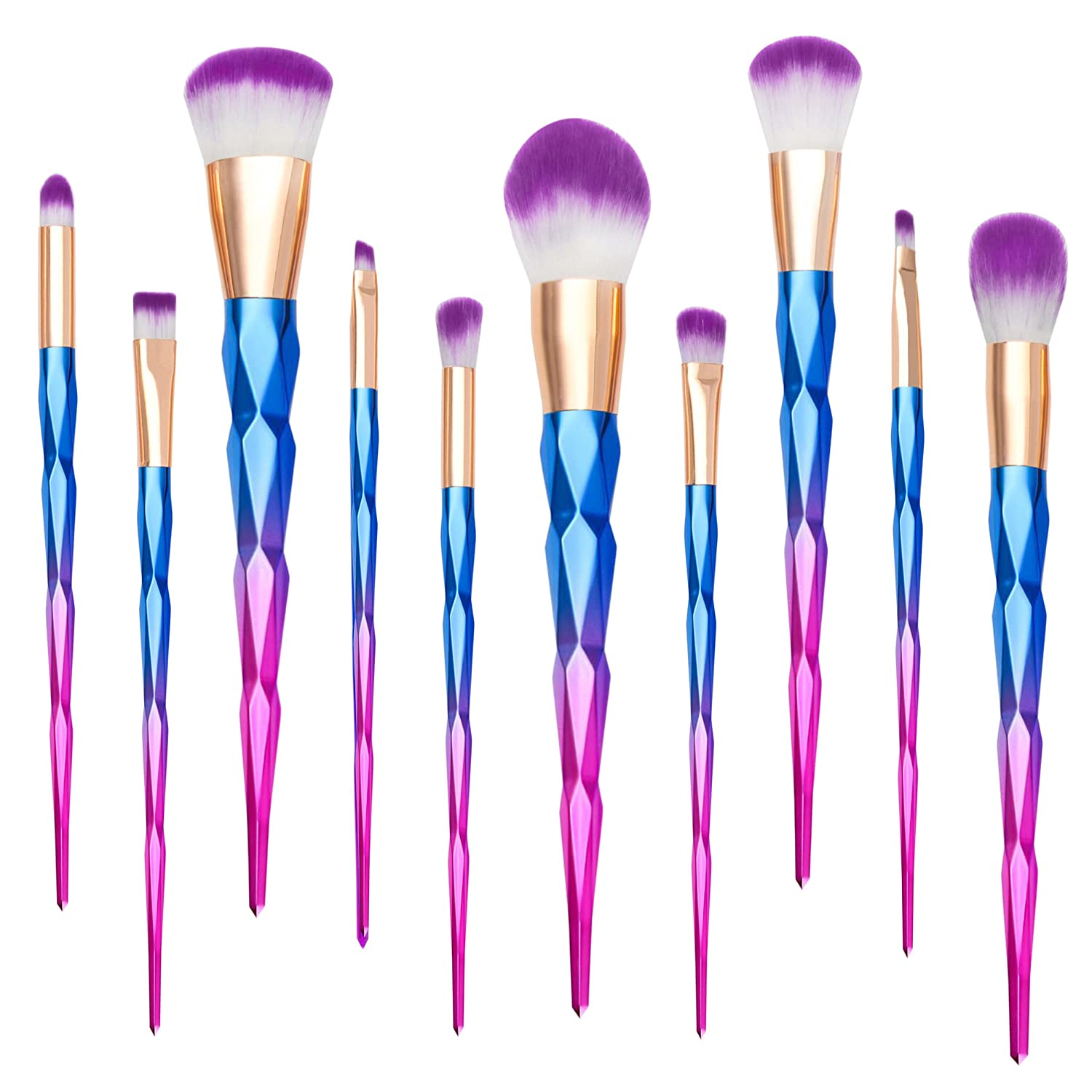 Unicorn Makeup Brushes, Qivange Synthetic Rose Gold Makeup Brushes Foundation Powder Eyeshadow Blending Brushes(10pcs)