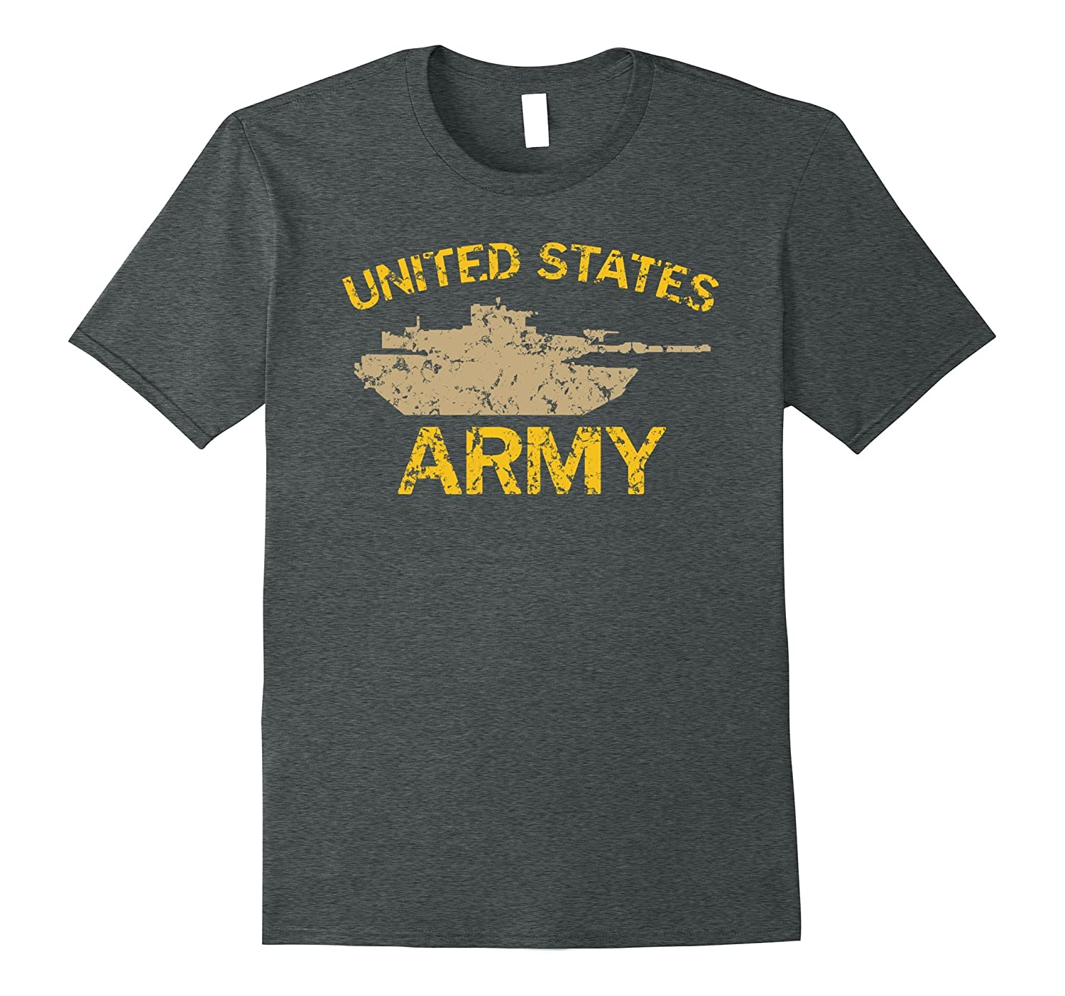United States Army M1A2 Abrams Tusk Tank Grunge T-Shirt-BN