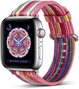 Compatible Apple Watch Band 38mm 40mm,Pierre Case Genuine Leather iwatch Strap Replacement Bands with Stainless Metal Clasp Compatible iWatch Series 6 &5 & 4 &3 & 2 & 1 Edition Women Girl (Pink)