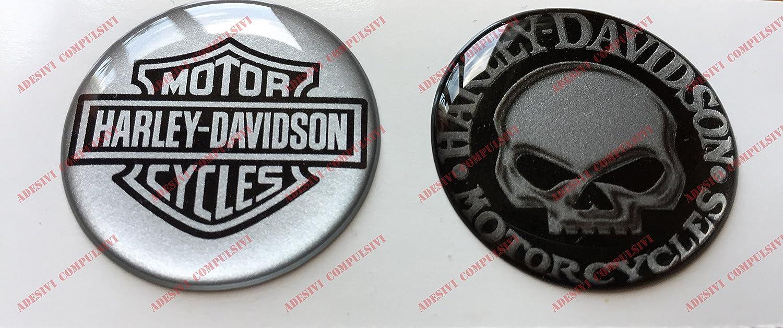 Adhesivos resinados con el emblema/logotipo de Harley Davidson, logotipo clásico con calavera, par de pegatinas resinadas con efecto 3D.