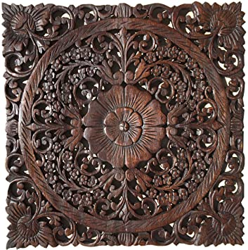 Asian Wall Art Home Decor. Wood Carved Wall Plaque Sculpture 24u0026quot; Square (Espresso : wood carving wall art - www.pureclipart.com