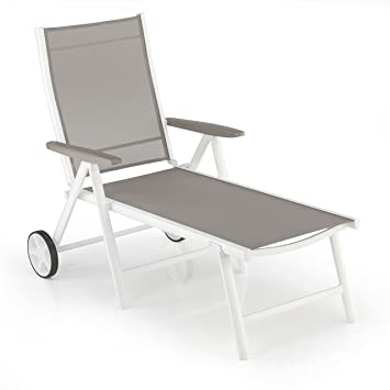 Kettler Vista Multi-Position Chaise Longue W/Roues, Blanc ...