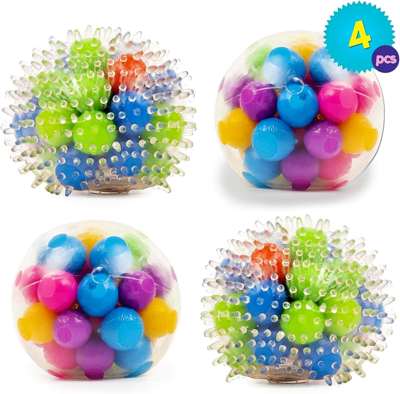 Set de 4 Juguetes Antiestrés Apretables en Colores Variados - Ideal para niños con TDAH, Sensoriales y Alivio de Ansiedad para niños y adultos