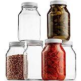 Glass Mason Jars 32 Ounce (1 Quart) 6 Pack Regular Mouth, Metal Airtight Lid, USDA Approved Dishwasher Safe USA Made Pickling