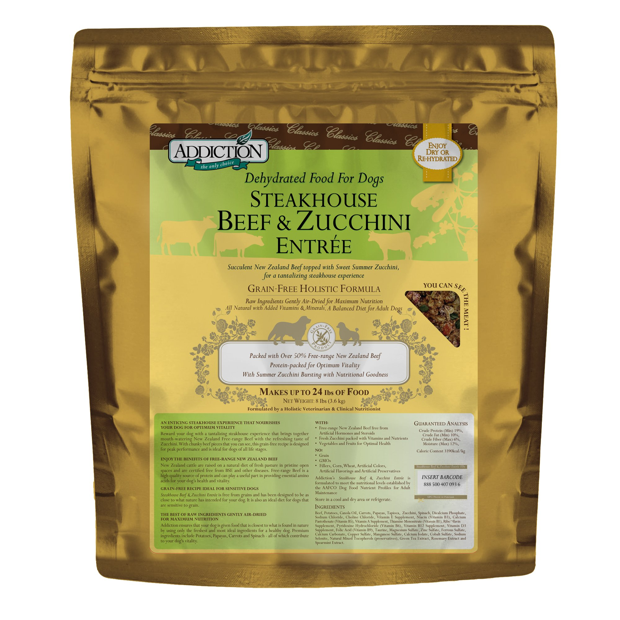 Addiction Steakhouse Beef & Zucchini Grain Free Dehydrated Dog Food, 8 Lb. by Addiction Pet Foods