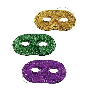 Fun Express Mardi Gras Glitter Half Masks (1 Dozen): Toys & Games