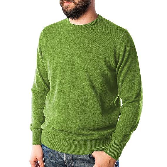 14804fec37d596 Hawick Knitwear Men s Crew Neck Plain Cashmere Jumper - Foliage Green ...