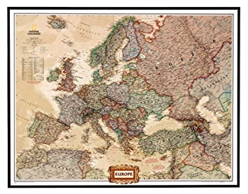 National geographic pinboard political map of europe executive national geographic pinboard political map of europe executive style brown aluminium frame gumiabroncs Image collections
