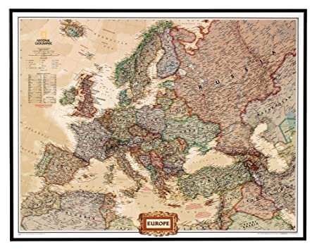 National geographic pinboard political map of europe executive national geographic pinboard political map of europe executive style brown aluminium frame gumiabroncs Choice Image