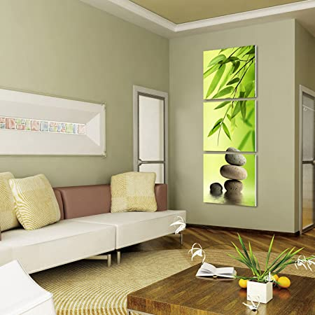 ZEN BAMBOO STONES ready to hang 3 panel set digital wall print mounted on fiberboard better than stretched canvas prints Size 24x24x1 inch X3Panels