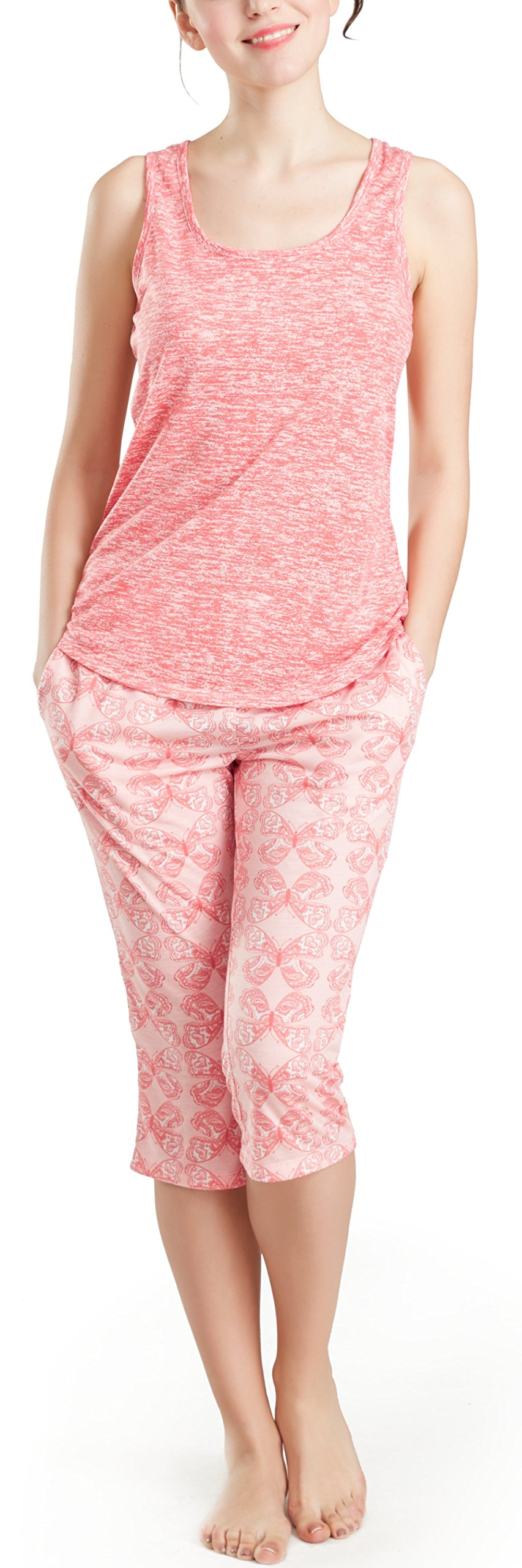 Summer Pajamas for Women, Cute Print Capris Pajama for Woman - Pjs Women Jersey Tank Top and Capri Jogger Pants Set Butterfly XXL