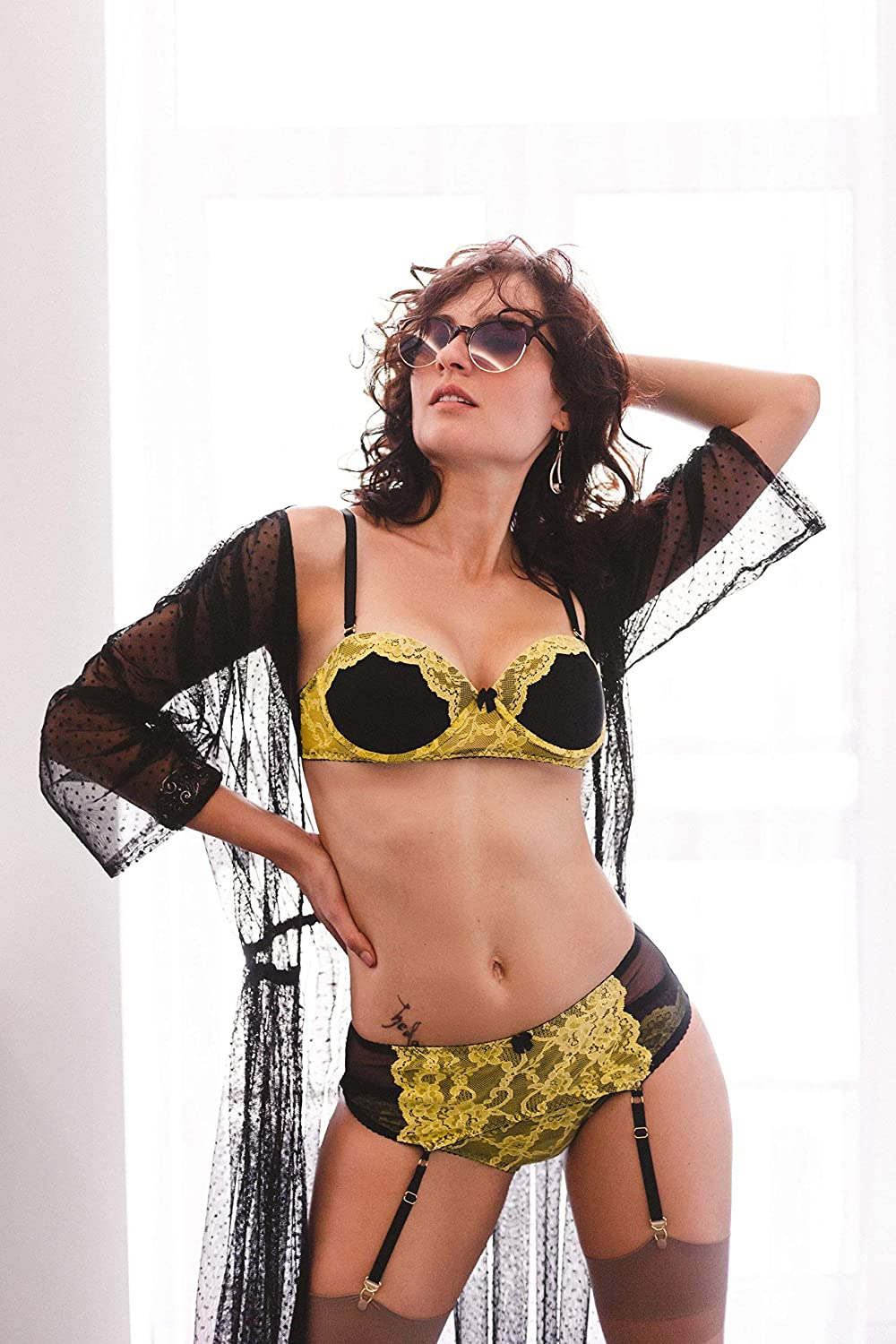 3d2bb70b96 Amazon.com  Push up bra Yellow lingerie set with stocking belt ⇼ Lace  lingerie set with belt ⇼ Sexy lingerie of yellow and black color  Handmade