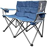 NORSEEVA Heavy Duty loveseat Camping Chair - Perfect Double Outdoor Folding Chair with Bottle Opener for Camping, Beach, Adul