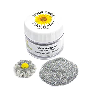 Silver Hologram Craft Glitter Dust | Shiny Silver Glitter | Decoration Dust for Cake Accessories, DIY Crafting | Glitter Dust for Decoration | Brillantina | Sunflower Sugar Art