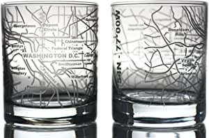 Greenline Goods Whiskey Glasses - 10 Oz Tumbler Gift Set for Washington, DC lovers, Etched with Washington, DC Map | Old Fashioned Rocks Glass - Set of 2