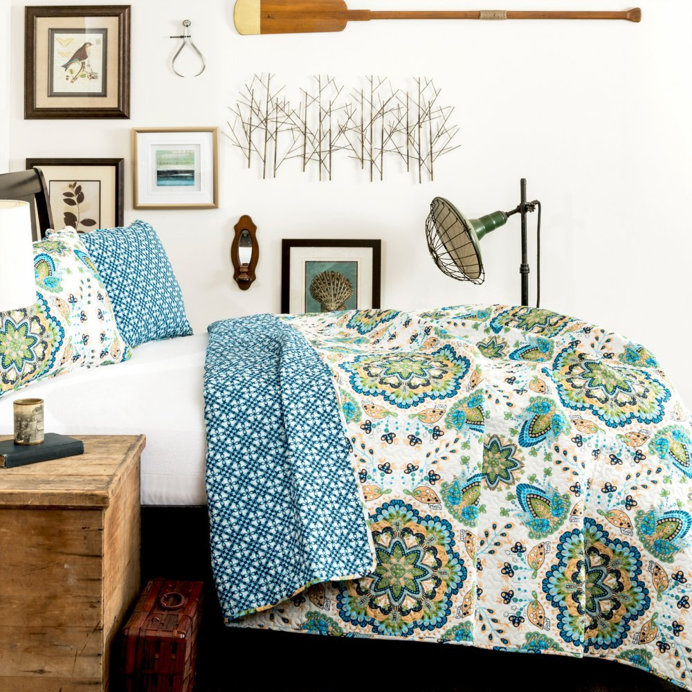 Lush Decor 3-Piece Adding Ton Quilt Set, Full/Queen, Green/Blue