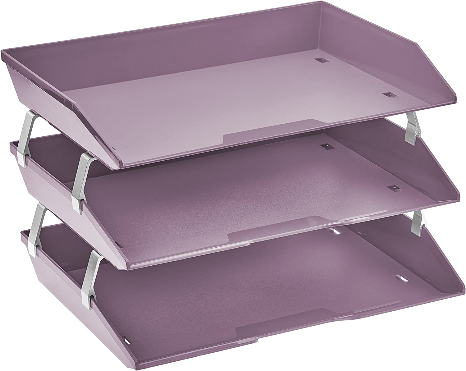 Acrimet Facility 3 Tier Letter Tray Side Load Plastic Desktop File Organizer (Solid Purple Color)