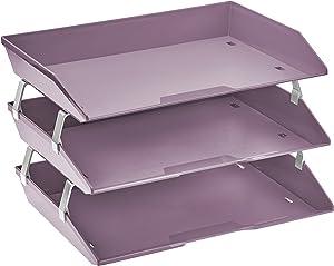 Acrimet Facility 3 Tier Letter Tray Side Load Plastic Desktop File Organizer (Solid Purple Color)