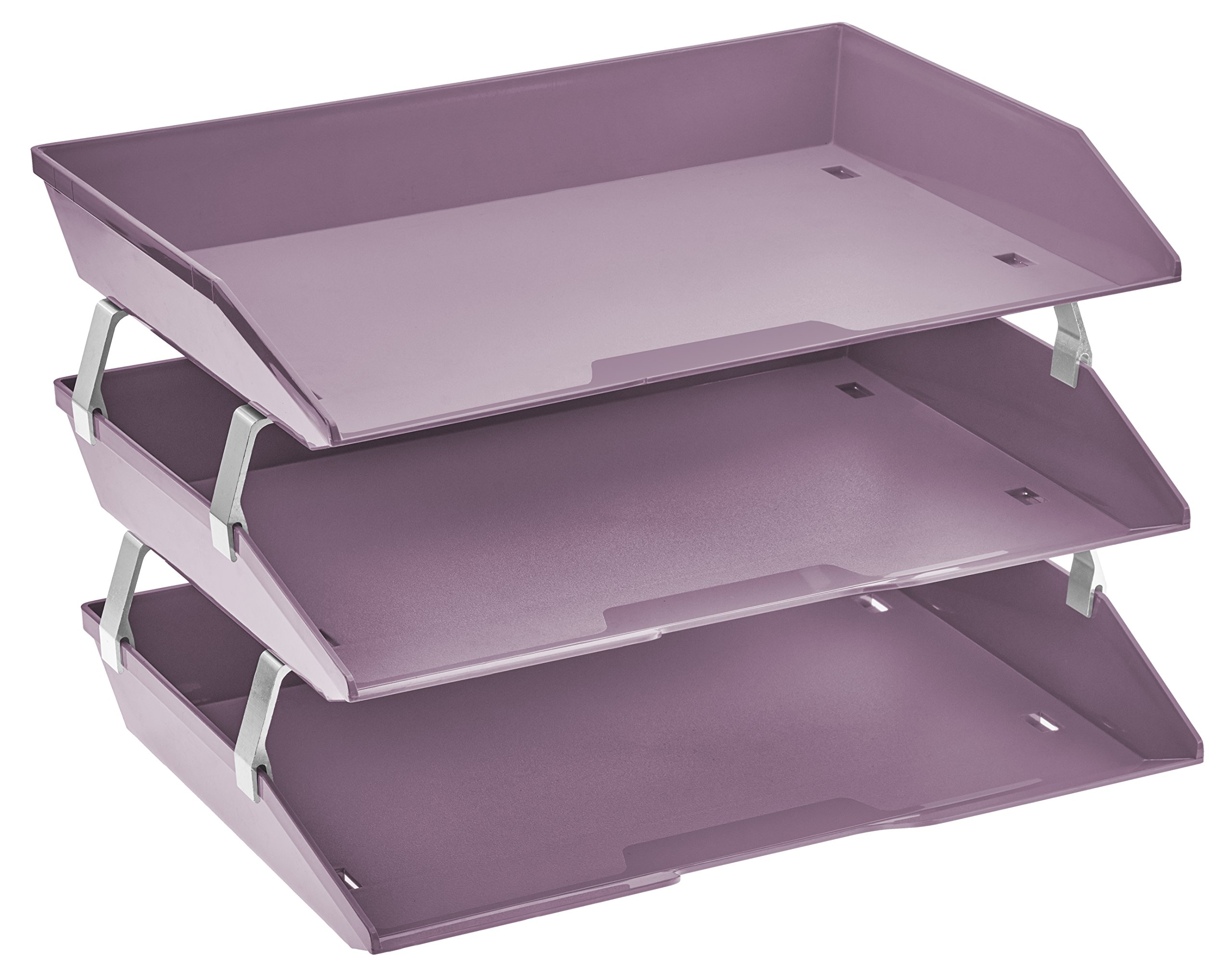 Acrimet Facility 3 Tiers Triple Letter Tray (Solid Purple Color)