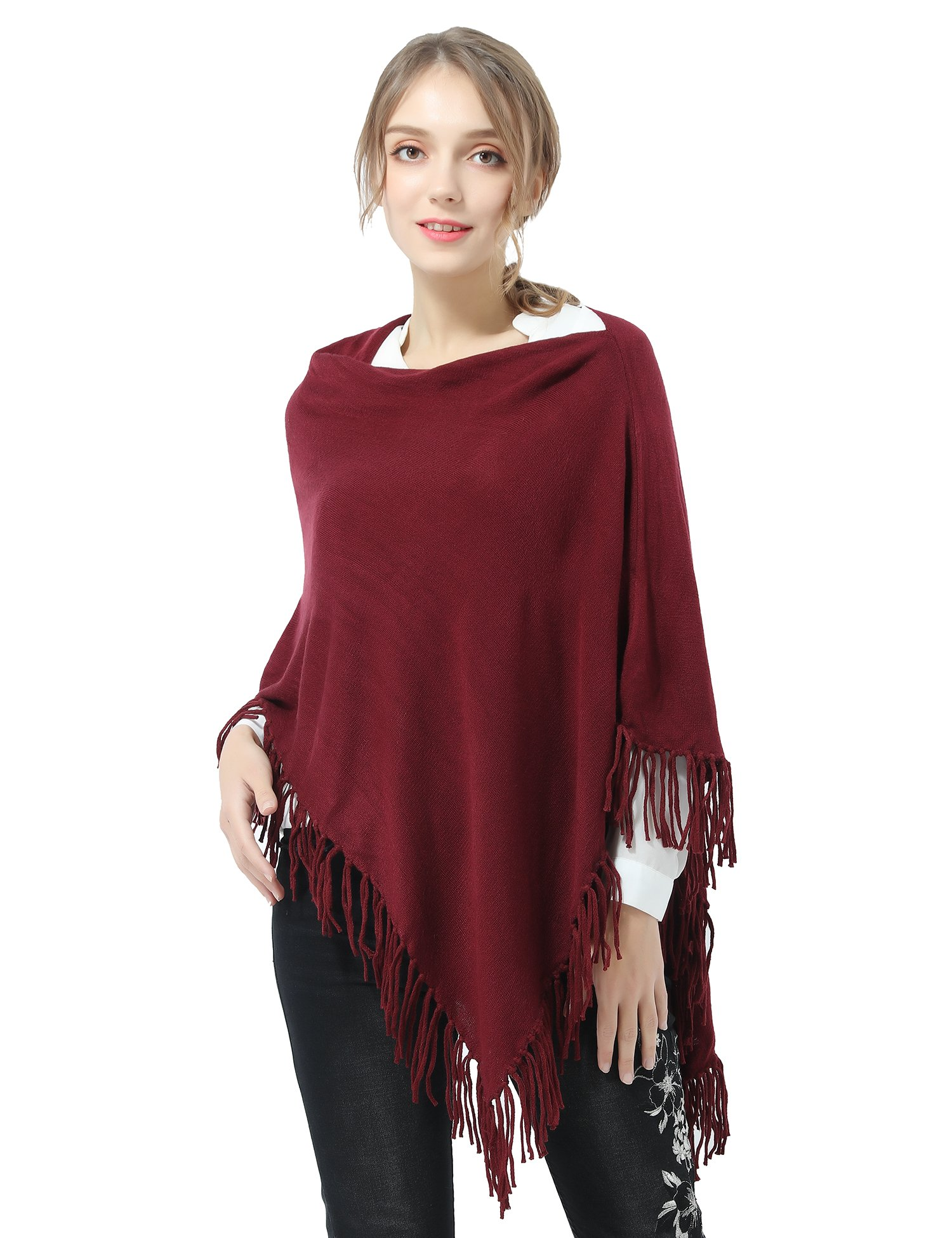 Joulli Women's Knitted Tassel Asymmetric Poncho Wrap Shawl Solid Color Scarf For Casual Business Red,One Size by Joulli