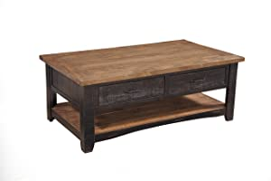 Martin Svensson Home 890125 Rustic Coffee Table, Antique Black and Honey Tobacco