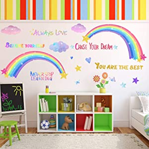 3 Sheets Rainbow Wall Decals for Girls Room, Colorful Rainbow Butterflies Clouds Star Heart Wall Sticker Inspirational Wall Decal for Girls Kids Bedroom Nursery Christmas Birthday Party Decoration