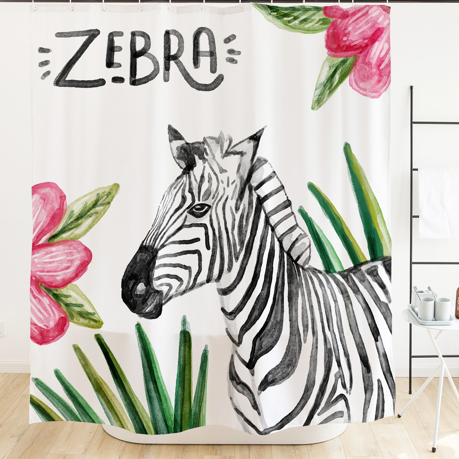 Ofat Home Animal Watercolor Zebra Shower Curtain Hooks 71x71 Tropical Leaves Pink Flowers Black White Mildew Resistant Fabric Kids Bathroom Decor