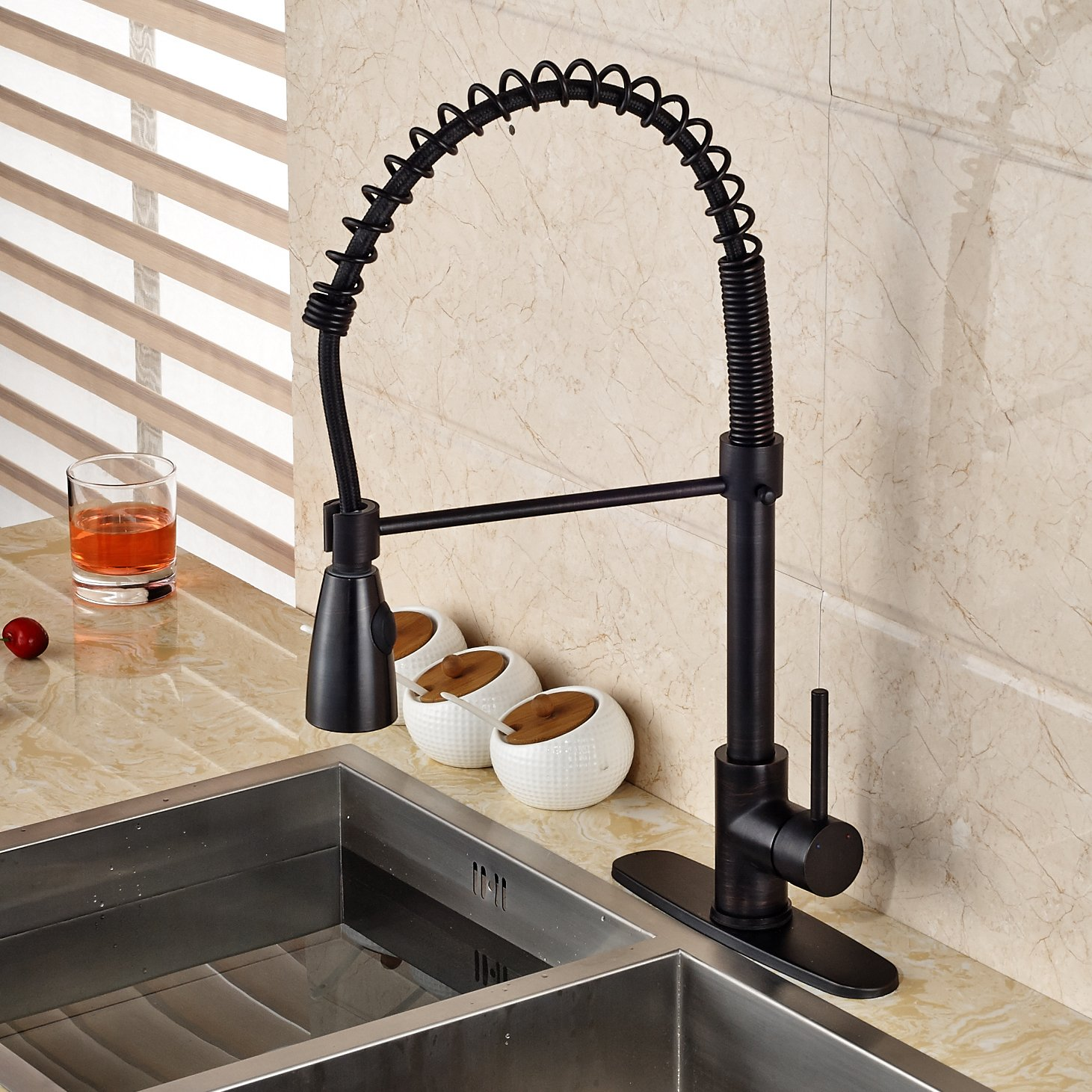 Rozin Single Hole Pull Down Sprayer Kitchen Sink Faucet Deck Mount