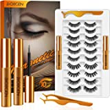 Magnetic Eyelashes with Eyeliner Kit, False Lashes 10 Pairs Pack 3D Fluffy Volume Extensions Natural Look No Glue Need Reusab