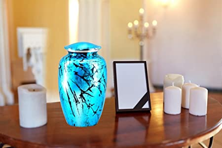 Shimmering Aqua Cremation Urn – Beautifully Handcrafted Adult Funeral Urn – Solid Metal Funeral Urn – Affordable Urn for Human Ashes with Free Velvet Bag
