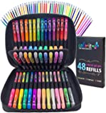 ColorIt Gel Pens For Adult Coloring Books - Premium Ink Gel Pens Set With Case Includes 48 Artist Quality Coloring Pens: 24 Glitter, 12 Metallic, 12 Neon Plus 48 Matching Refills For 96 Total Pieces
