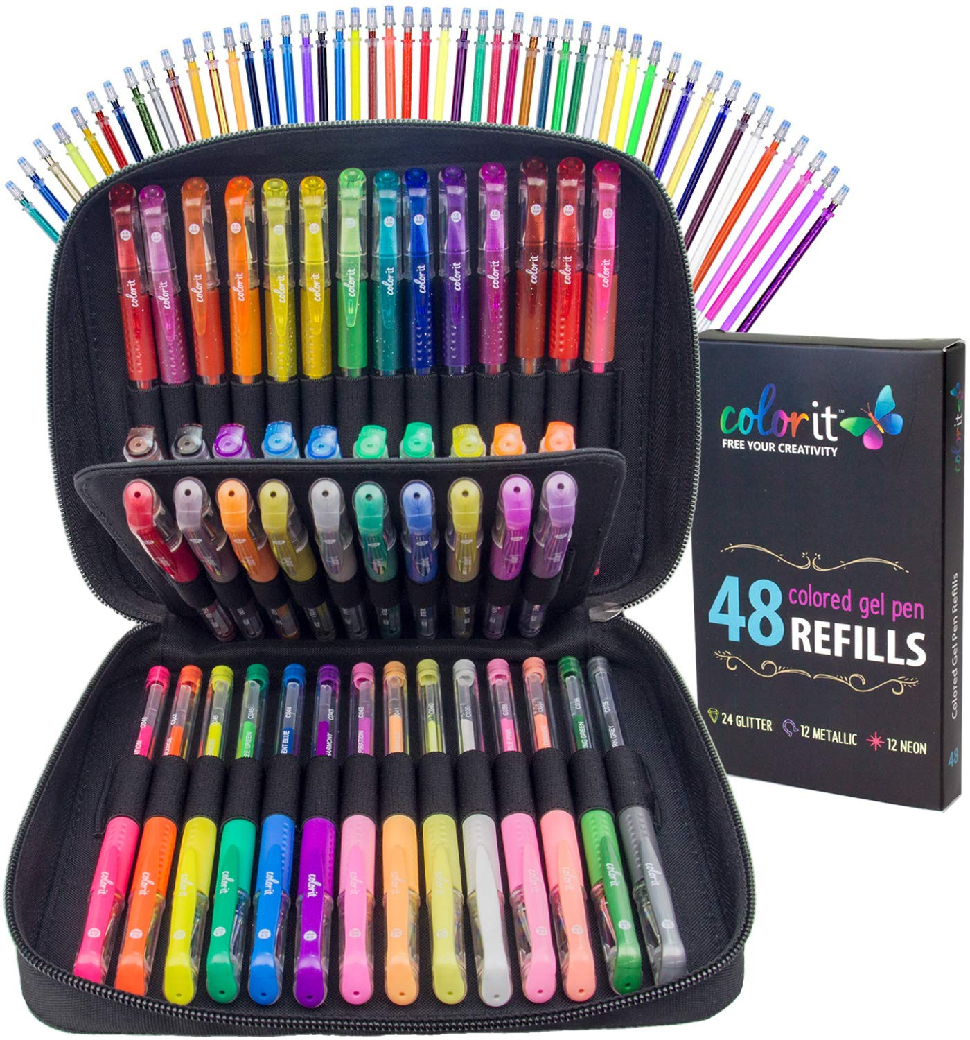 ColorIt Gel Pens For Adult Coloring Books – Premium Ink Gel Pens Set With Case Includes 48 Artist Quality Coloring Pens: 24 Glitter, 12 Metallic, 12 Neon Plus 48 Matching Refills For 96 Total Pieces by ColorIt (Image #1)